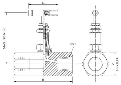 hex needle valve   female x female  hex female needle valves    hex needle valve diagram